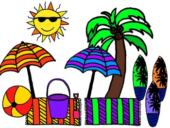 Surf Kids Colorful Clipart Collection