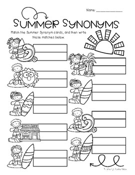 Surf Shop Kiddos / Summertime: Synonyms Match Center (Basic)