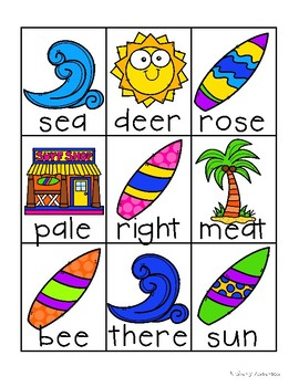 Surf Shop Kiddos / Summertime: Homophone Word Match Center