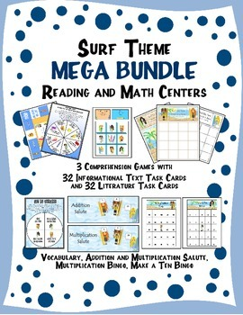Surf Theme Reading and Math Activities