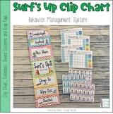 Surf Themed Behavior Clip Chart