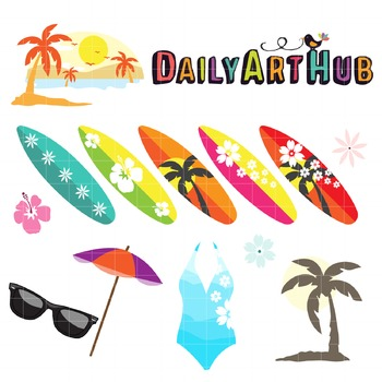 Surf Up Clip Art - Great for Art Class Projects!