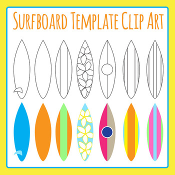 Surf into Learning Surfboard Template Clip Art for Commercial Use