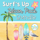 Surf's Up Beach Theme Editable Classroom Decor Bundle