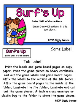 Surf's Up Editable File Folder Game