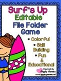 Surf's Up Editable File Folder Game