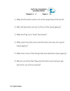 Surf's Up Geronimo! Reading Comprehension Questions