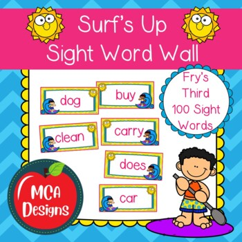 Surf's Up - Sight Word Wall Fry's Third 100 Words