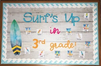 Surf's Up Welcome Bulletin Board for Back to School {Editable}
