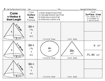 Surface Area 03: Surface Area Cones & Changing Radius/Slant Length Effect + QUIZ