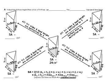 Surface Area 08: Calc SA + Base & Height's Effect Surface Area Triangular Prisms
