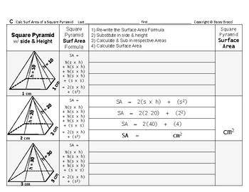 Surface Area 15: Surface Area of Square Pyramids + How Side & Height Affects SA