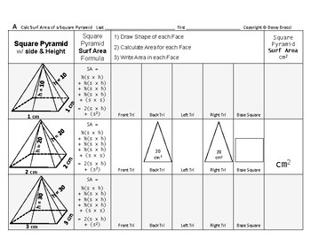 Geometry formulas quiz teaching resources teachers pay teachers surface area 15 surface area of square pyramids sides effect quiz ccuart Images