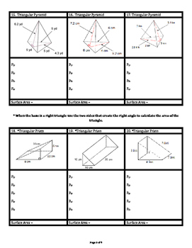 Surface Area of Rectangular & Triangular Prisms & Pyramids