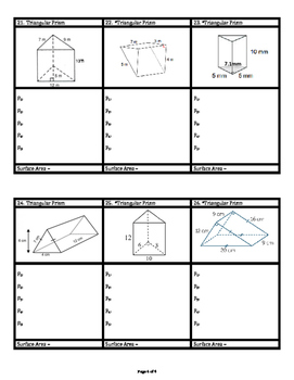 Surface Area of Rectangular & Triangular Prisms & Pyramids