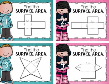 Surface Area Task Cards for Centers, Review, Scoot, & Test Prep