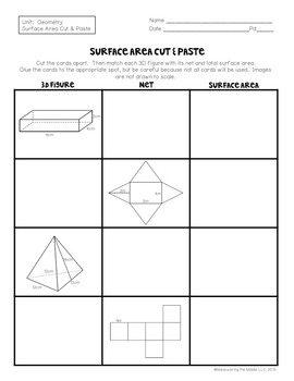 Surface Area Activity - 6.G.4, 7.G.6