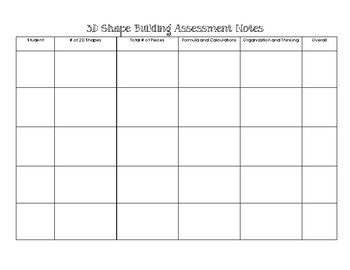 Surface Area Building Project - Organizers & Rubric