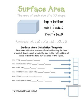 Surface Area Calculation Template and Practice Page