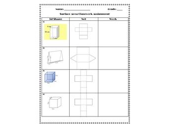 Surface Area Classwork Assignment