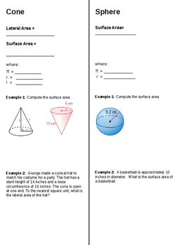 Surface Area Cones Spheres (Foldable)