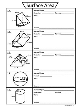 Surface Area Foldable Notes And Practice By Activities By