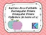 Surface Area Foldable: Rectangular and Triangular Prisms and Cylinders