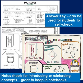 Surface Area Task Cards - Footloose Math Game