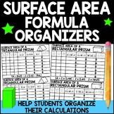 Surface Area Formula Organizers