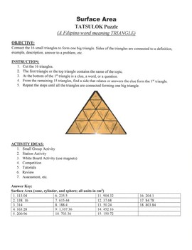 Surface Area Game Puzzle with Worksheet