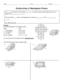 Surface Area Guided Notes:  Rectangular & Triangular Prisms