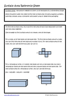 Surface Area Lesson for Interactive Math Notebooks