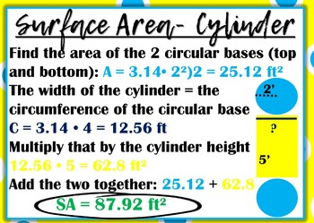 Surface Area Math Reference Cards