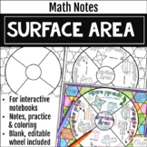 Surface Area Math Wheel Notes and Practice