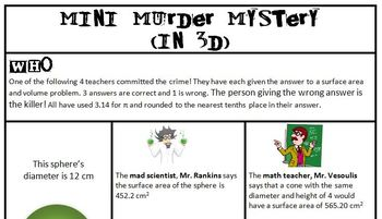 Surface Area Murder Mystery in 3D