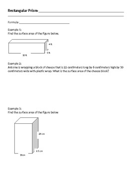 Surface Area Notes