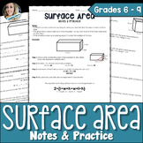 Surface Area Notes and Practice Worksheet