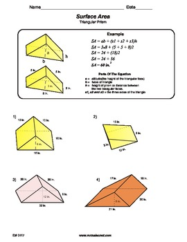 Worksheets Surface Area Triangular Prism Worksheet surface area of a triangula by maisonet math middle school triangular prism