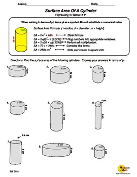 Surface Area Of A cylinder In Terms Of Pi | TpT