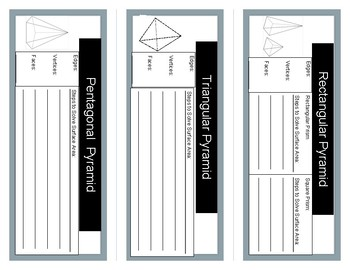 Surface Area- Pyramids Interactive Student Notebook Foldable