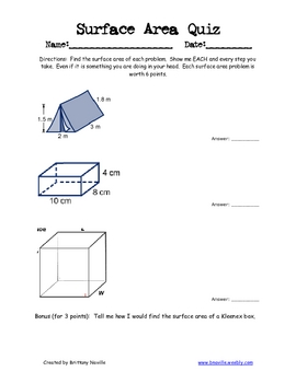 Surface Area Quiz