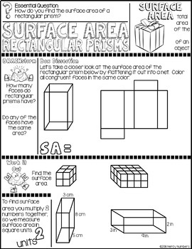 Surface Area Rectangular Prisms Discover & Doodle
