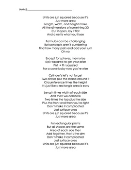Surface Area Song (Taylor Swift Blank Space) (Lyrics, Themed Worksheet, Video)
