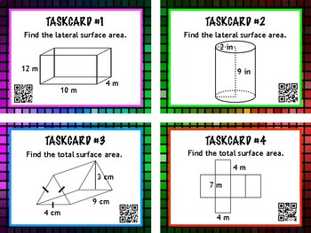 Surface Area Task Cards QR Codes