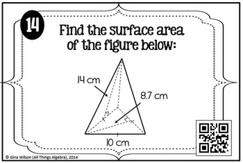 Surface Area Task Cards (Prisms, Cylinders, Pyramids, Cones)