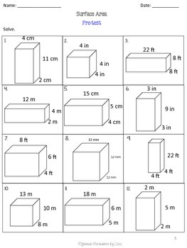 Surface Area Unit -Pretests, Post-tests, Posters, Cheat Sheets, Worksheets..