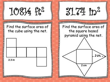 Surface Area Using Nets Scavenger Hunt 6.G.4