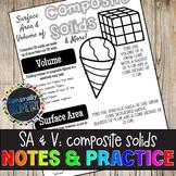Surface Area & Volume: Composite Solids Doodle Guide & Practice Worksheet