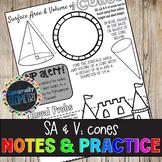 Surface Area & Volume: Cones Doodle Guide & Practice Worksheet