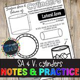 Surface Area & Volume: Cylinders Doodle Guide & Practice Worksheet